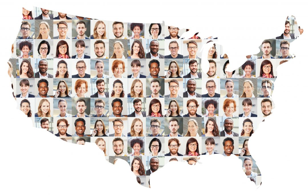 Collage of people's faces in the shape of the U.S.